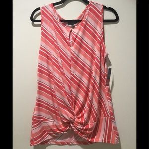 Coral Striped Sleeveless Top